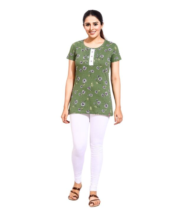 Womens Flower Green Patti Top and Bottom Sets