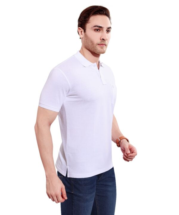 Mens Polo Solid White T-shirt