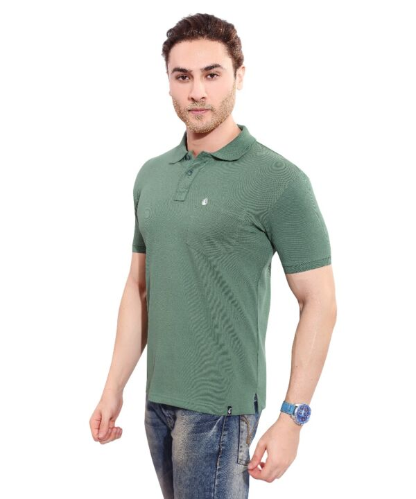 Mens Polo Solid Green T-shirt