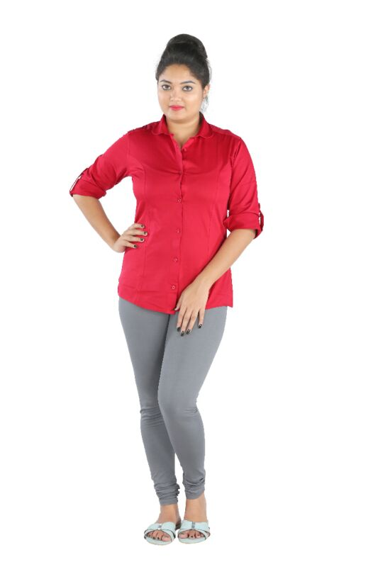 Princes Cut Womens Solid Red Shirt
